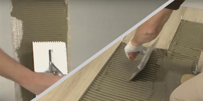 Lepidlo sa nanáša hrebeňom tak na podklad, ako aj na rubovú stranu obkladu. Táto metóda sa využíva vždy ak sa použije aj leveling system